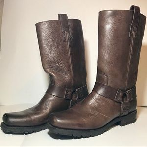 FRYE BROWN GENUINE LEATHER MOTORCYCLE BOOTS